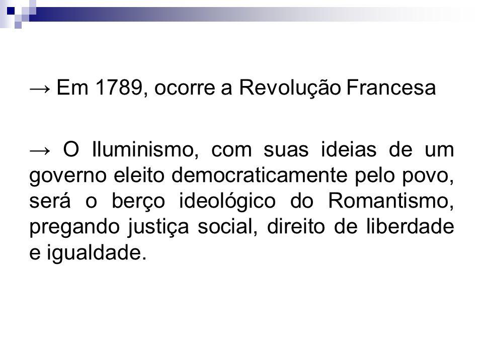 → Em 1789, ocorre a Revolução Francesa → O Iluminismo, com suas ideias de um governo eleito democraticamente pelo povo, será o berço ideológico do Romantismo, pregando justiça social, direito de liberdade e igualdade.