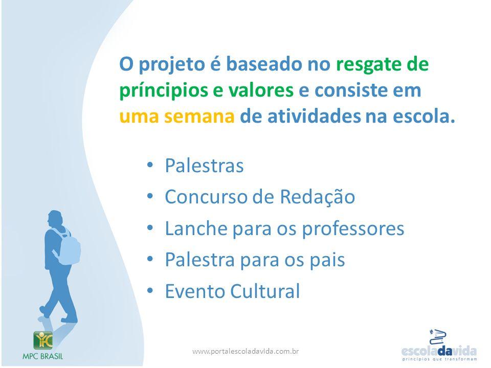 Lanche para os professores Palestra para os pais Evento Cultural