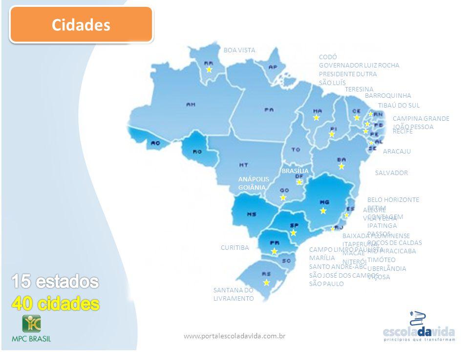 Cidades 15 estados 40 cidades www.portalescoladavida.com.br BOA VISTA