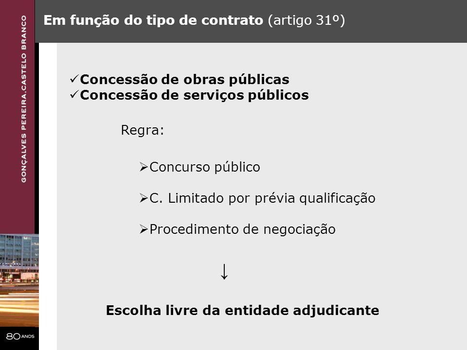 ↓ Em função do tipo de contrato (artigo 31º)