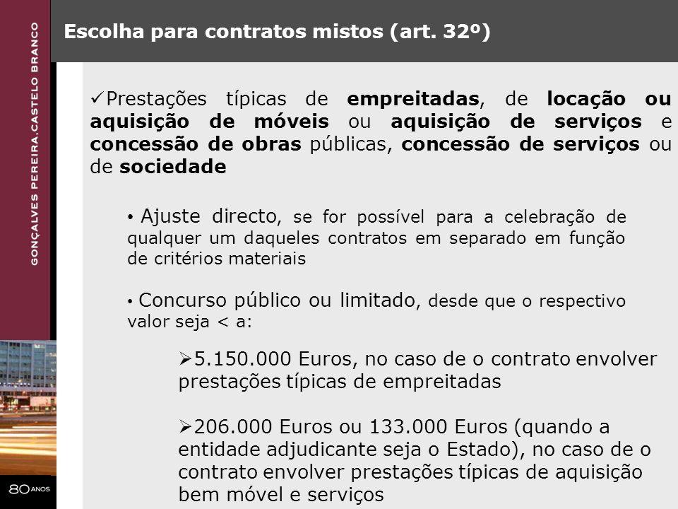 Escolha para contratos mistos (art. 32º)