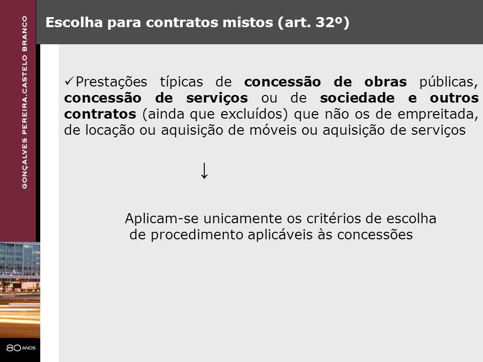 ↓ Escolha para contratos mistos (art. 32º)