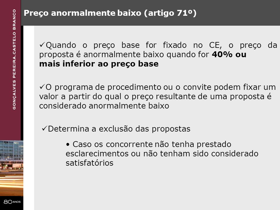 Preço anormalmente baixo (artigo 71º)