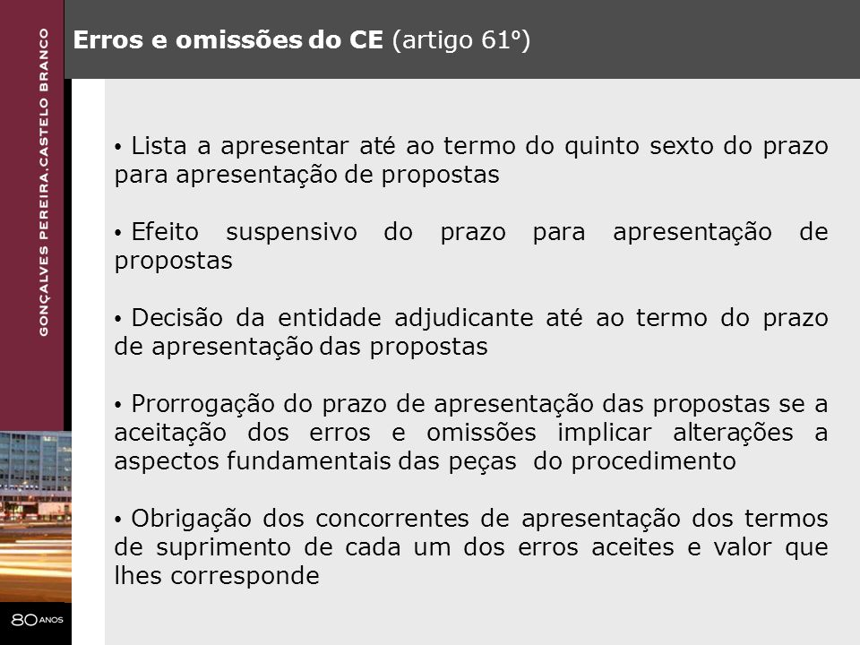 Erros e omissões do CE (artigo 61º)