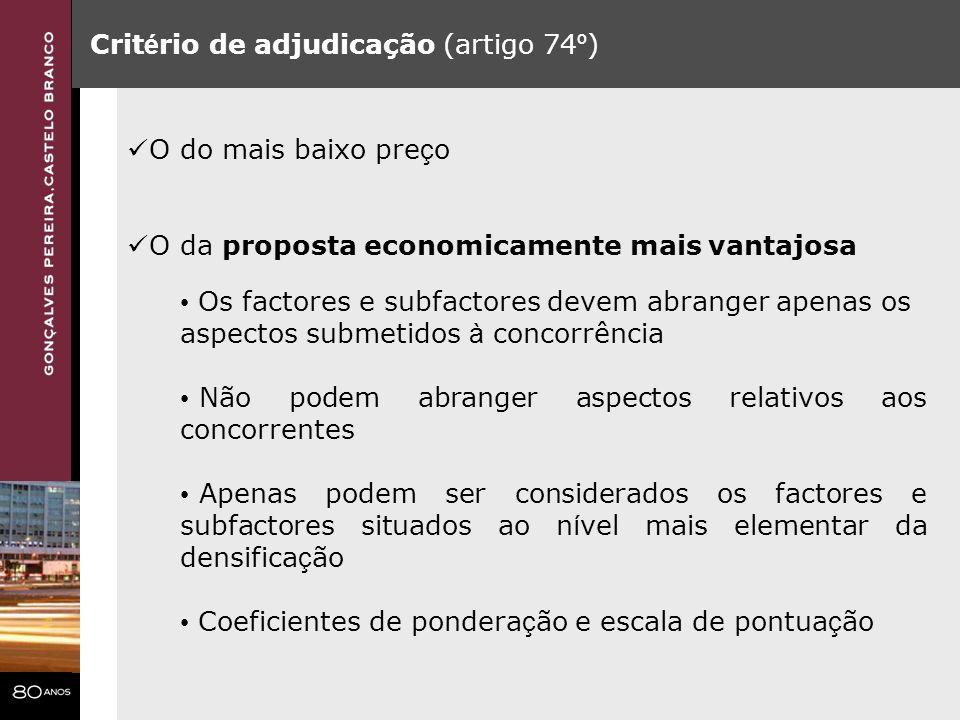 Critério de adjudicação (artigo 74º)
