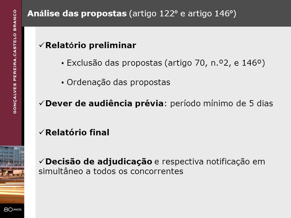 Análise das propostas (artigo 122º e artigo 146º)