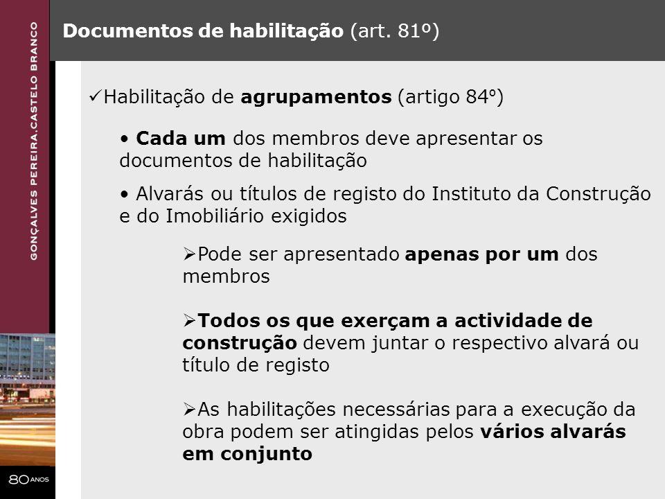 Documentos de habilitação (art. 81º)
