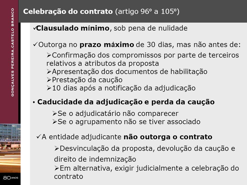 Celebração do contrato (artigo 96º a 105º)
