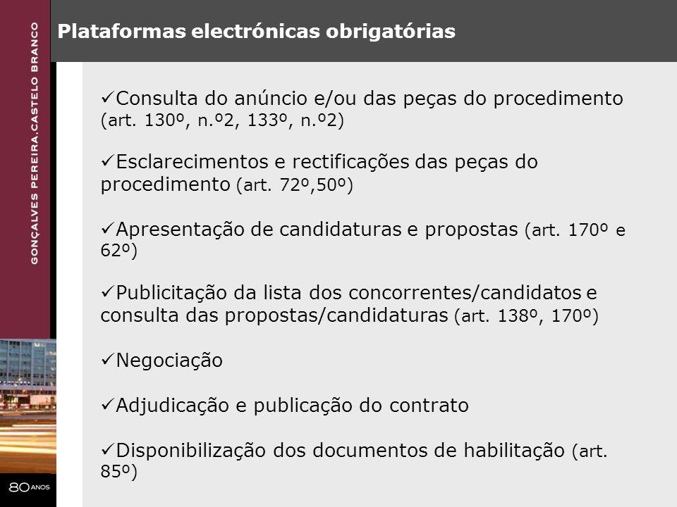 Plataformas electrónicas obrigatórias
