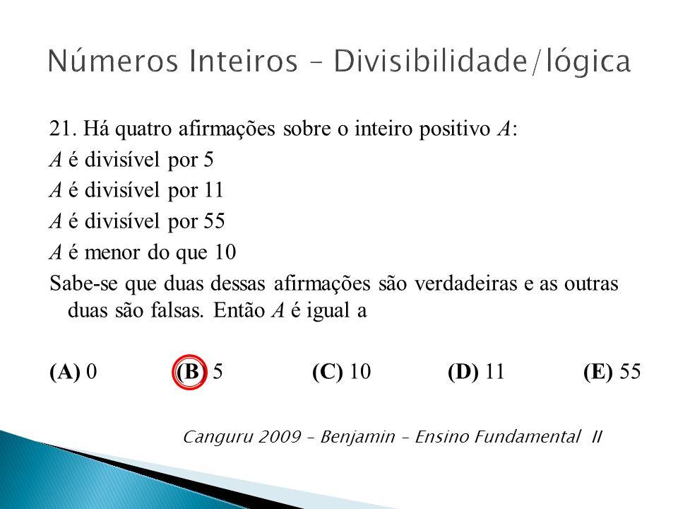 Números Inteiros – Divisibilidade/lógica