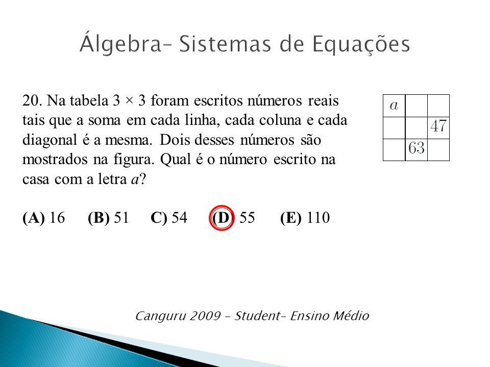 Álgebra– Sistemas de Equações