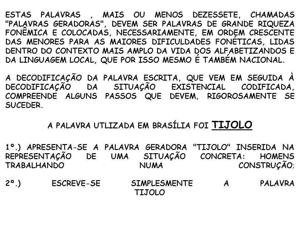 A PALAVRA UTLIZADA EM BRASÍLIA FOI TIJOLO