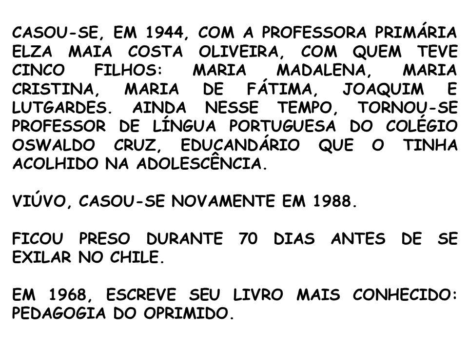 CASOU-SE, EM 1944, COM A PROFESSORA PRIMÁRIA ELZA MAIA COSTA OLIVEIRA, COM QUEM TEVE CINCO FILHOS: MARIA MADALENA, MARIA CRISTINA, MARIA DE FÁTIMA, JOAQUIM E LUTGARDES. AINDA NESSE TEMPO, TORNOU-SE PROFESSOR DE LÍNGUA PORTUGUESA DO COLÉGIO OSWALDO CRUZ, EDUCANDÁRIO QUE O TINHA ACOLHIDO NA ADOLESCÊNCIA.