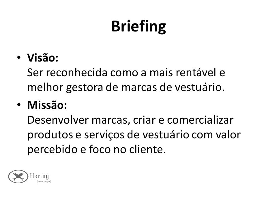 Briefing Visão: Ser reconhecida como a mais rentável e melhor gestora de marcas de vestuário.