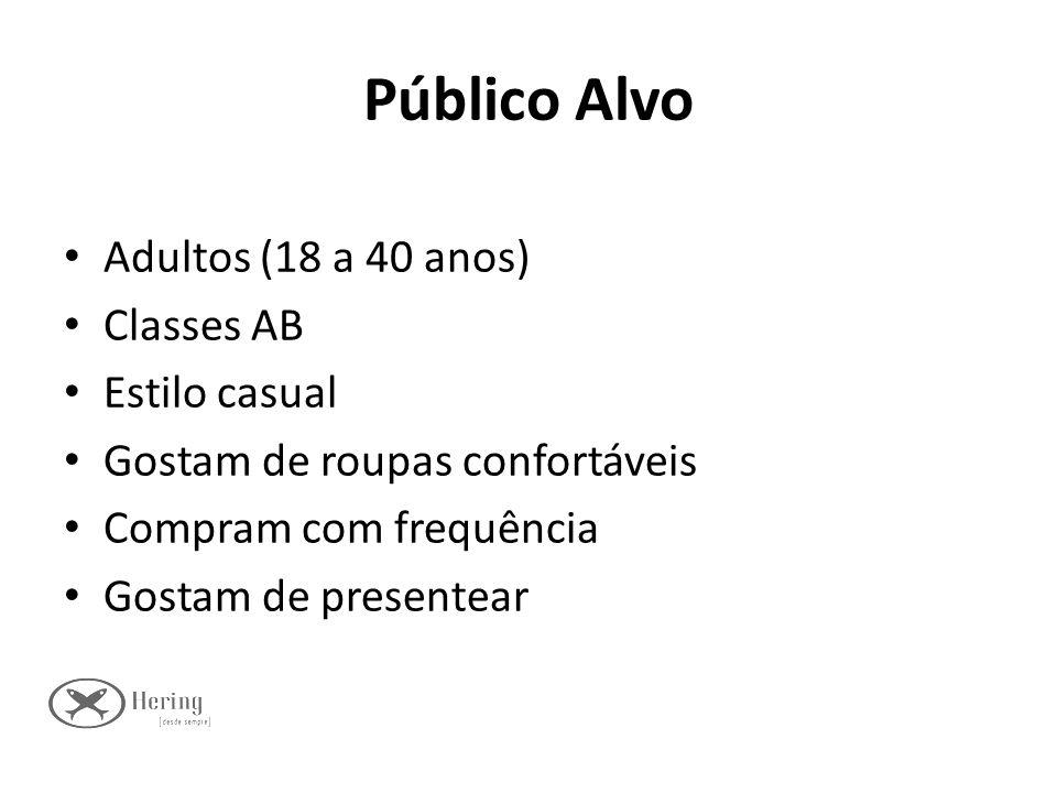 Público Alvo Adultos (18 a 40 anos) Classes AB Estilo casual