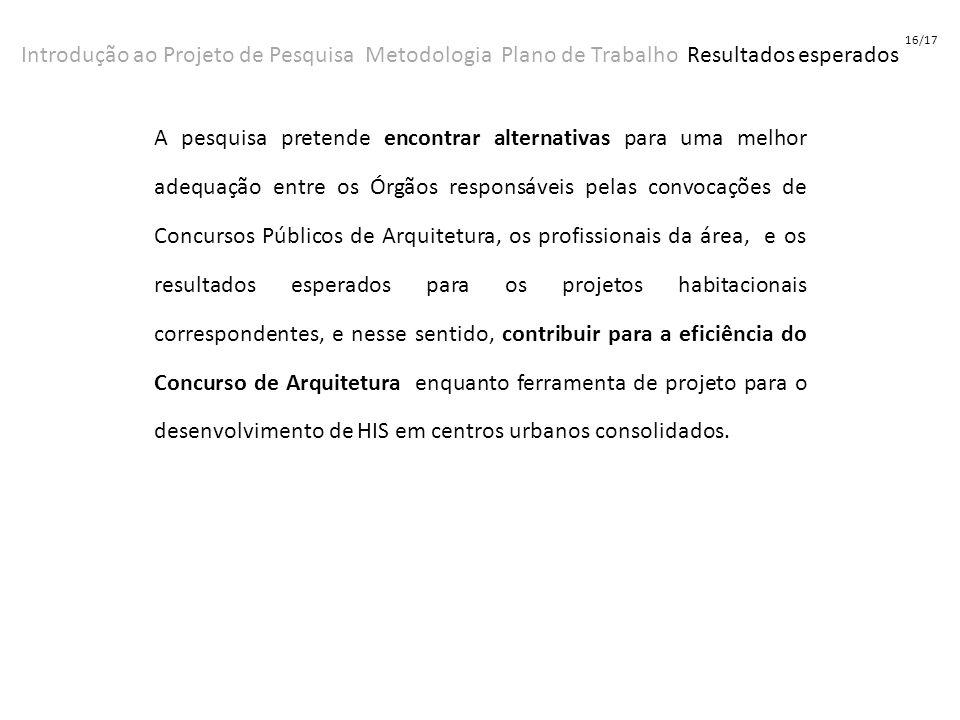 16/17 Introdução ao Projeto de Pesquisa Metodologia Plano de Trabalho Resultados esperados.