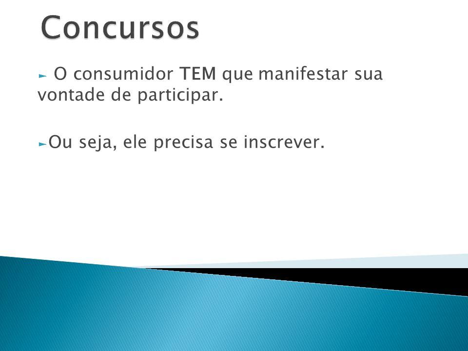 Concursos O consumidor TEM que manifestar sua vontade de participar.