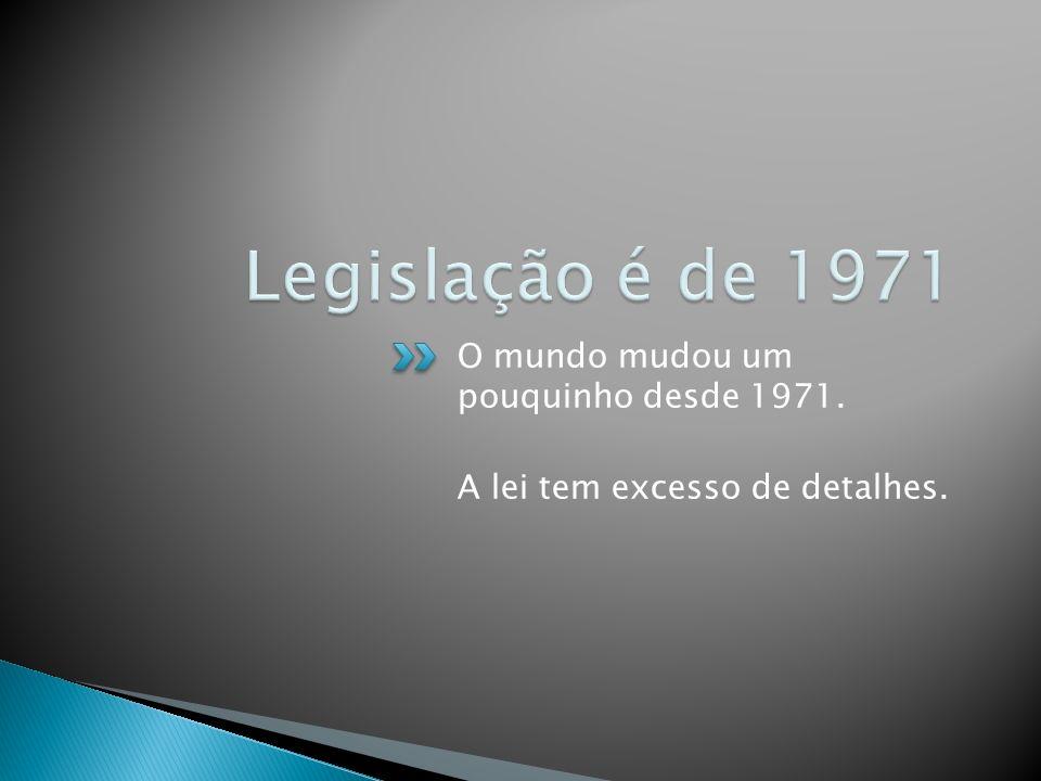Legislação é de 1971 O mundo mudou um pouquinho desde 1971.