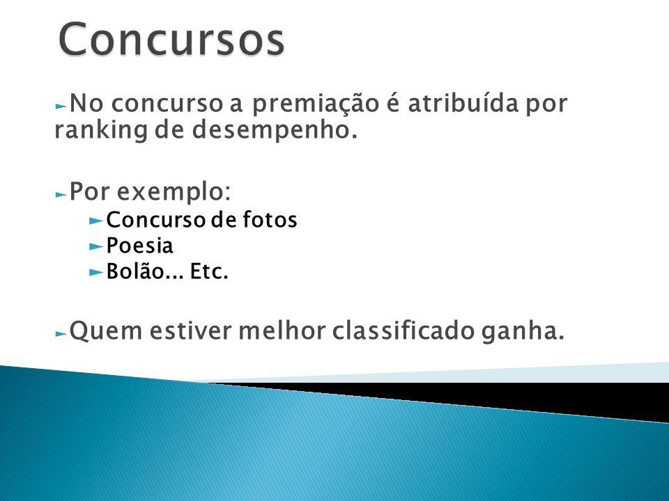 Concursos No concurso a premiação é atribuída por ranking de desempenho. Por exemplo: Concurso de fotos.