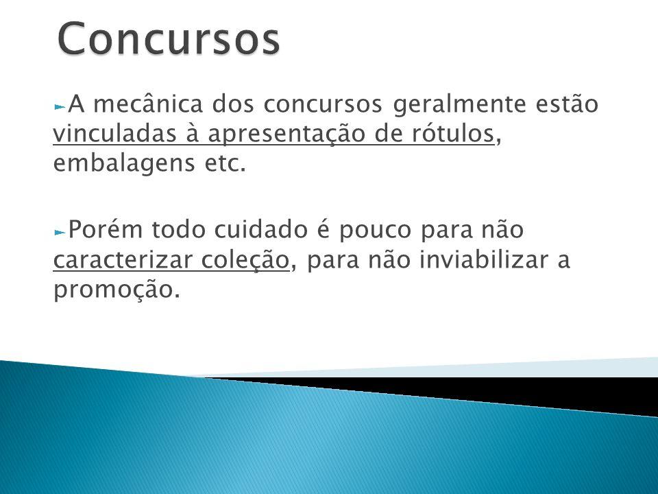Concursos A mecânica dos concursos geralmente estão vinculadas à apresentação de rótulos, embalagens etc.