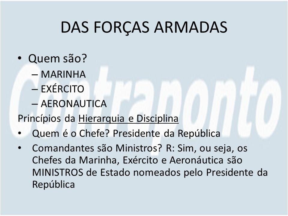 DAS FORÇAS ARMADAS Quem são MARINHA EXÉRCITO AERONAUTICA