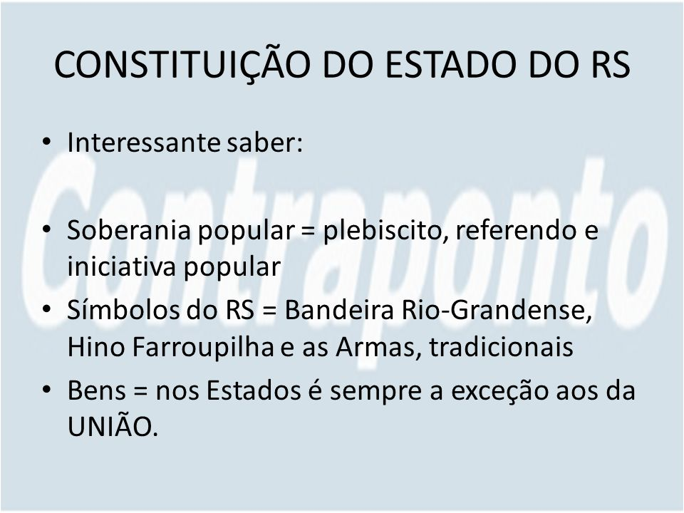CONSTITUIÇÃO DO ESTADO DO RS