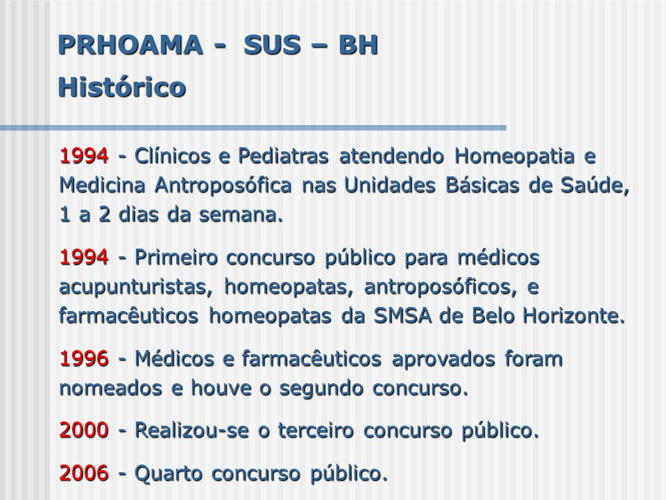 PRHOAMA - SUS – BH Histórico