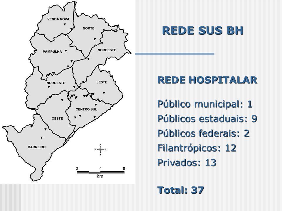REDE SUS BH REDE HOSPITALAR Público municipal: 1 Públicos estaduais: 9