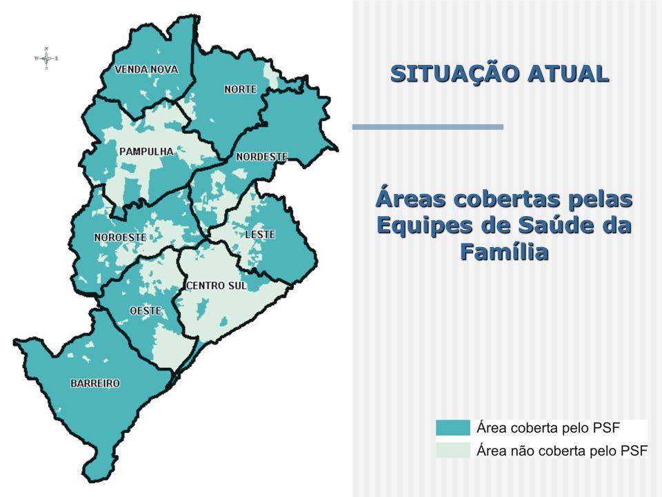 Áreas cobertas pelas Equipes de Saúde da Família