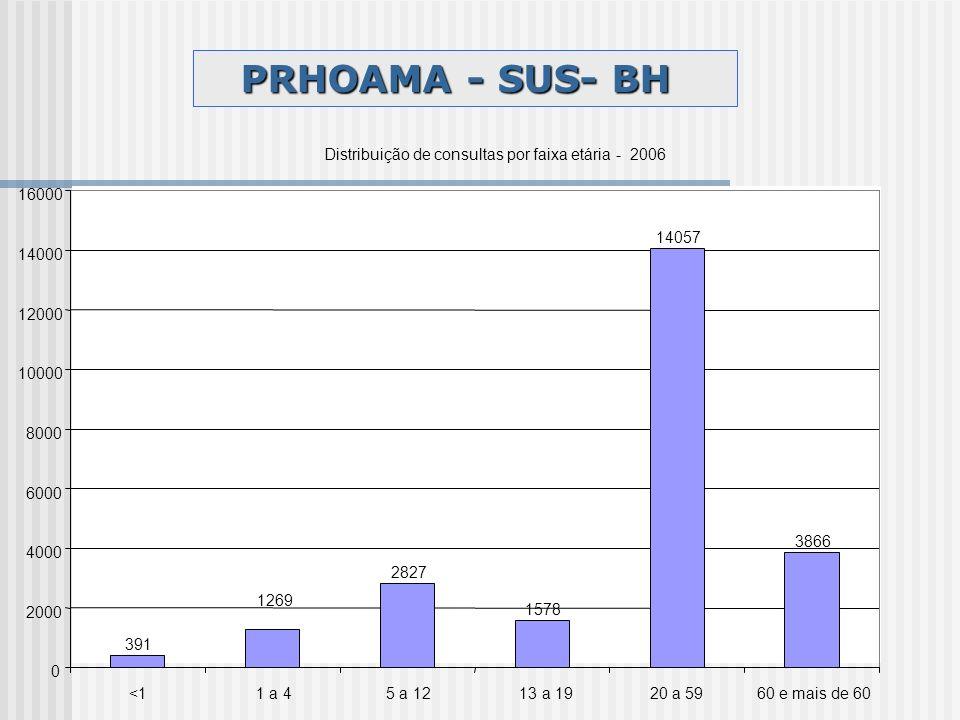 PRHOAMA - SUS- BH Distribuição de consultas por faixa etária - 2006