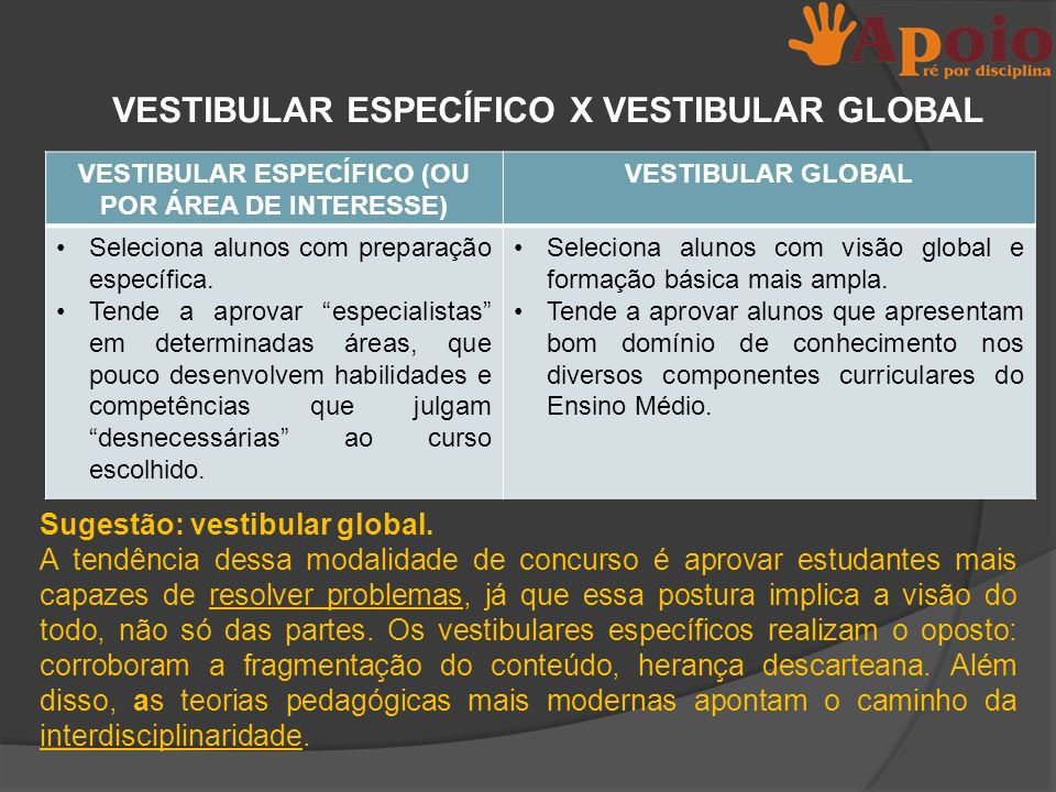 VESTIBULAR ESPECÍFICO X VESTIBULAR GLOBAL