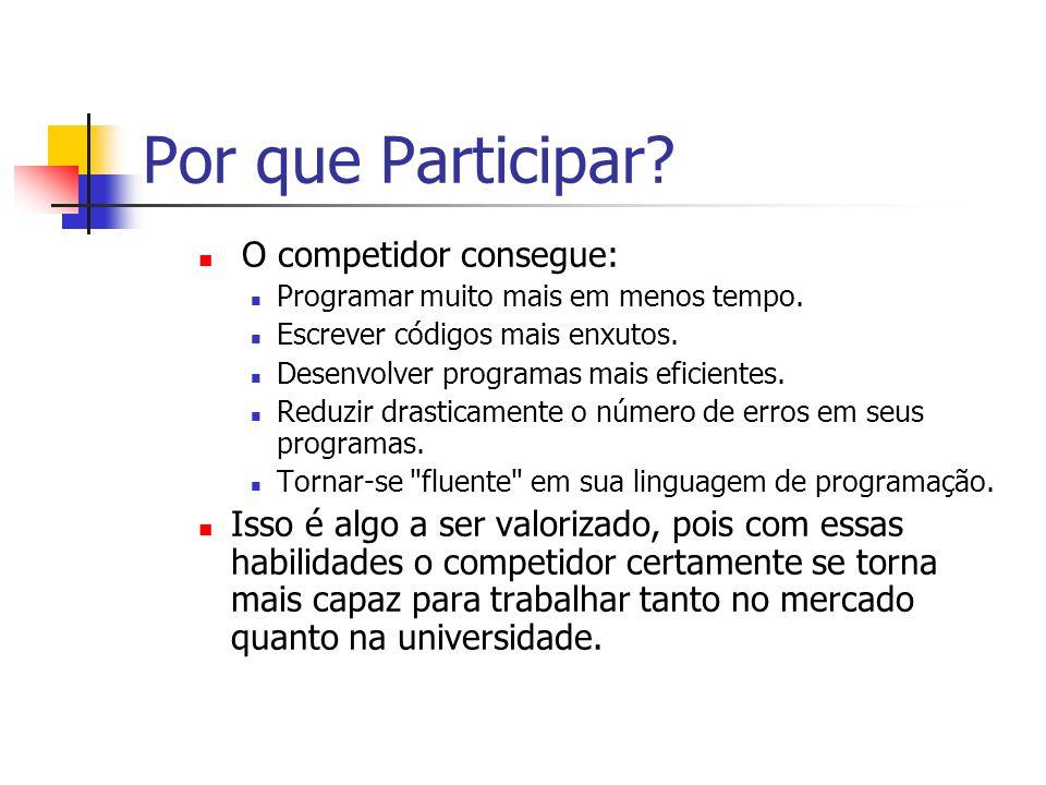 Por que Participar O competidor consegue: