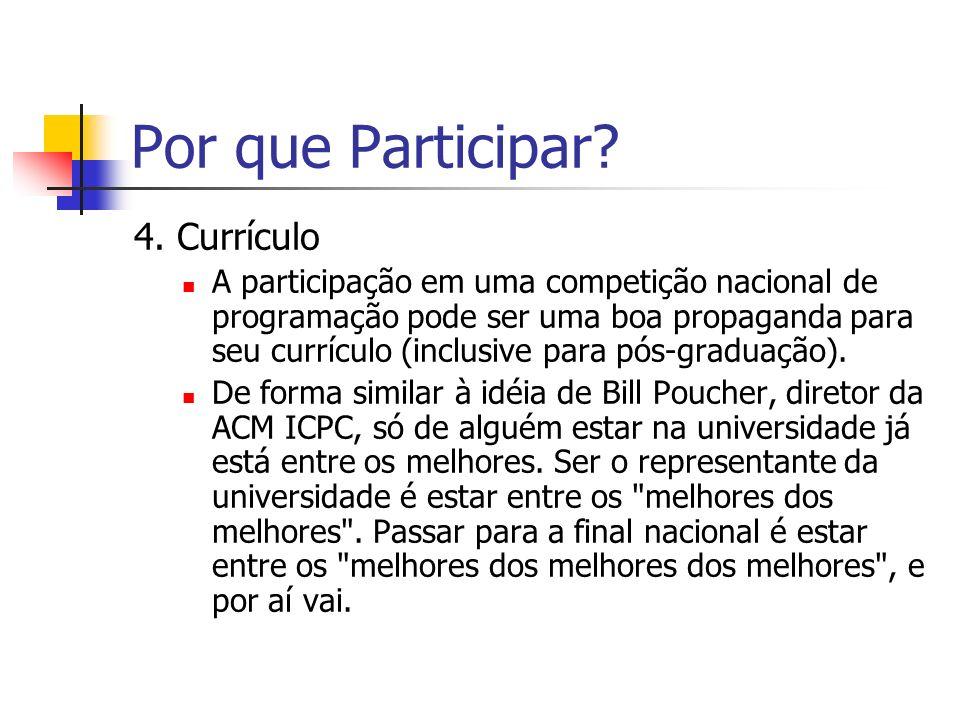 Por que Participar 4. Currículo