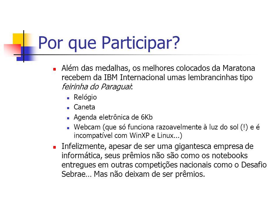 Por que Participar Além das medalhas, os melhores colocados da Maratona recebem da IBM Internacional umas lembrancinhas tipo feirinha do Paraguai: