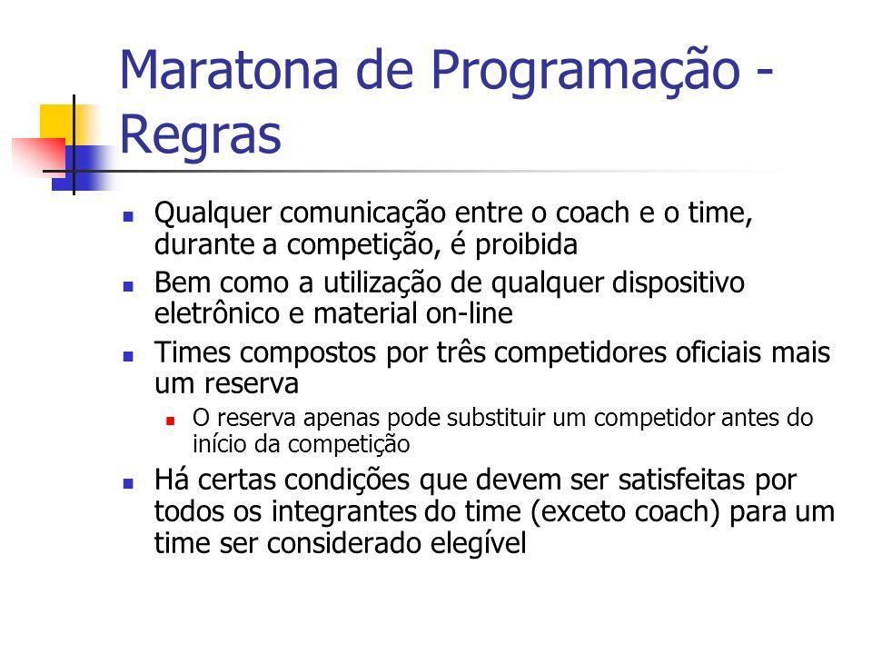 Maratona de Programação - Regras