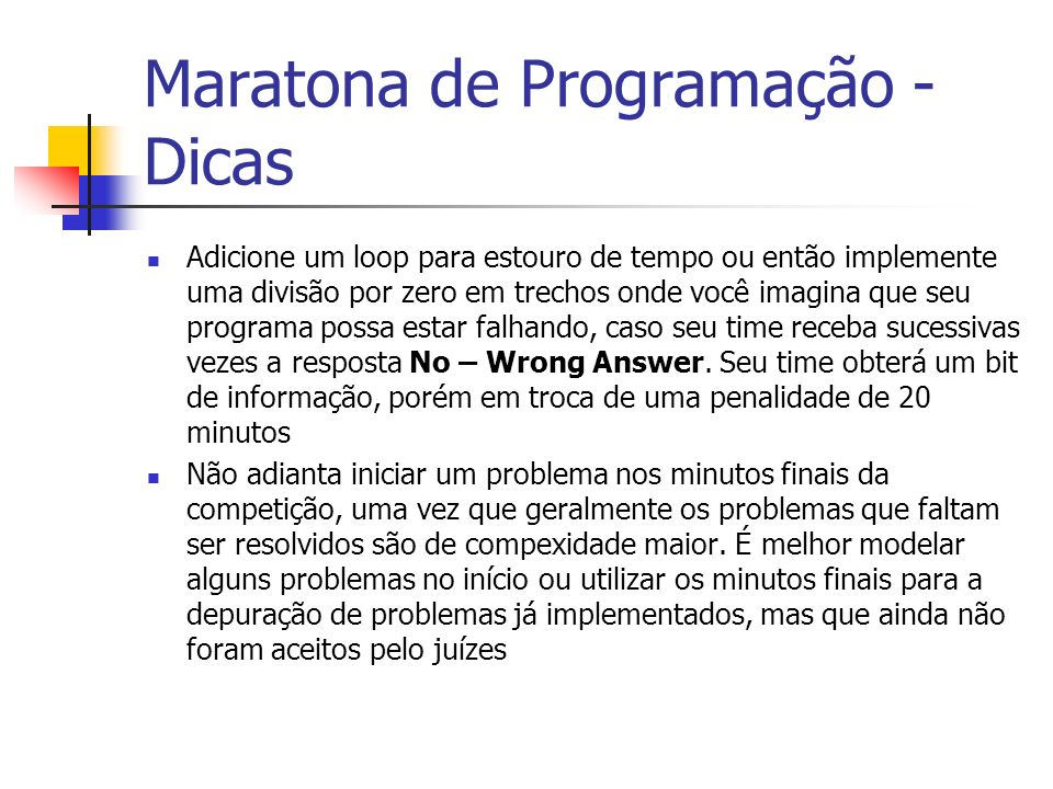 Maratona de Programação - Dicas