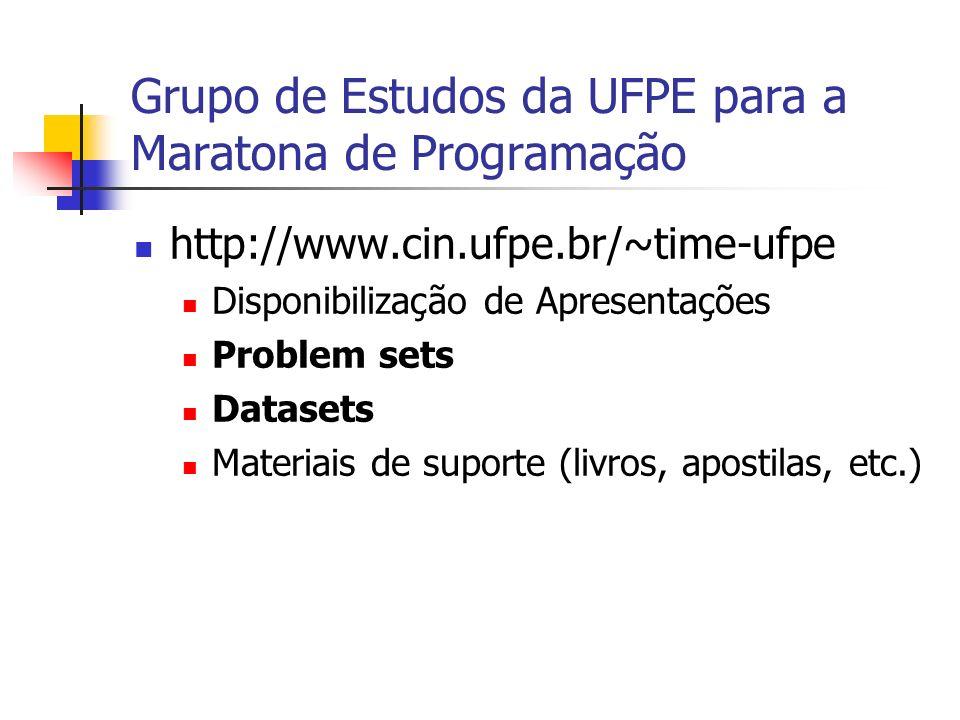Grupo de Estudos da UFPE para a Maratona de Programação