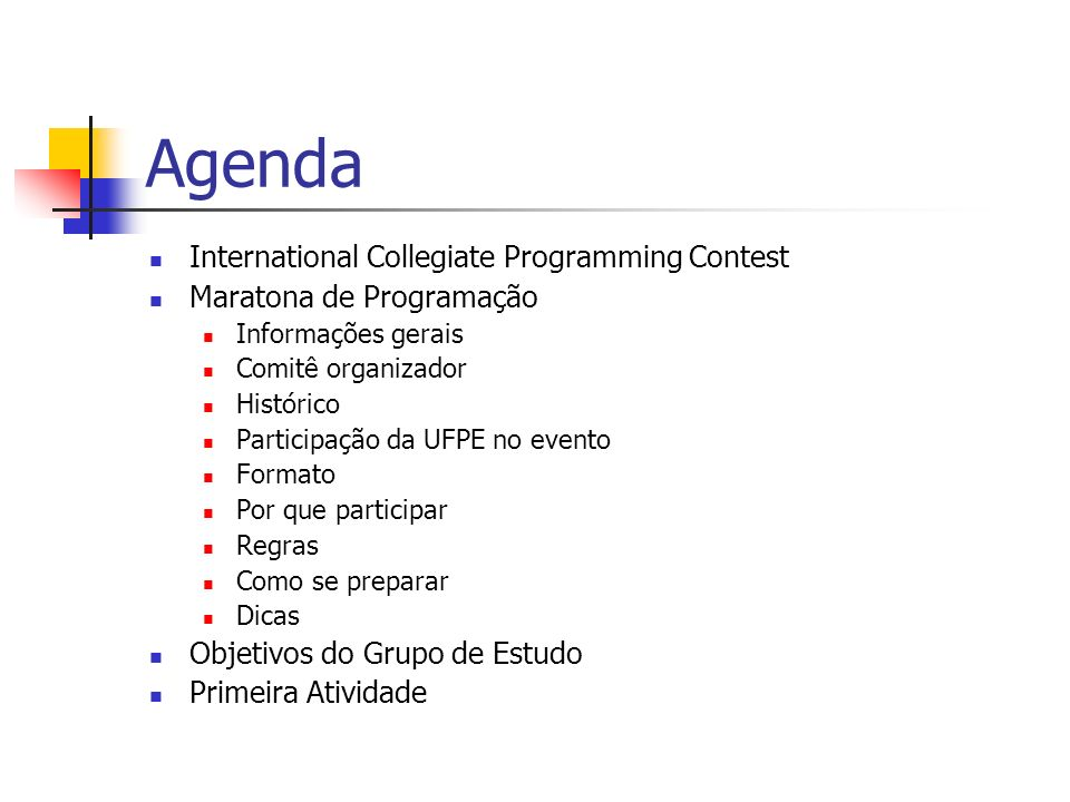 Agenda International Collegiate Programming Contest