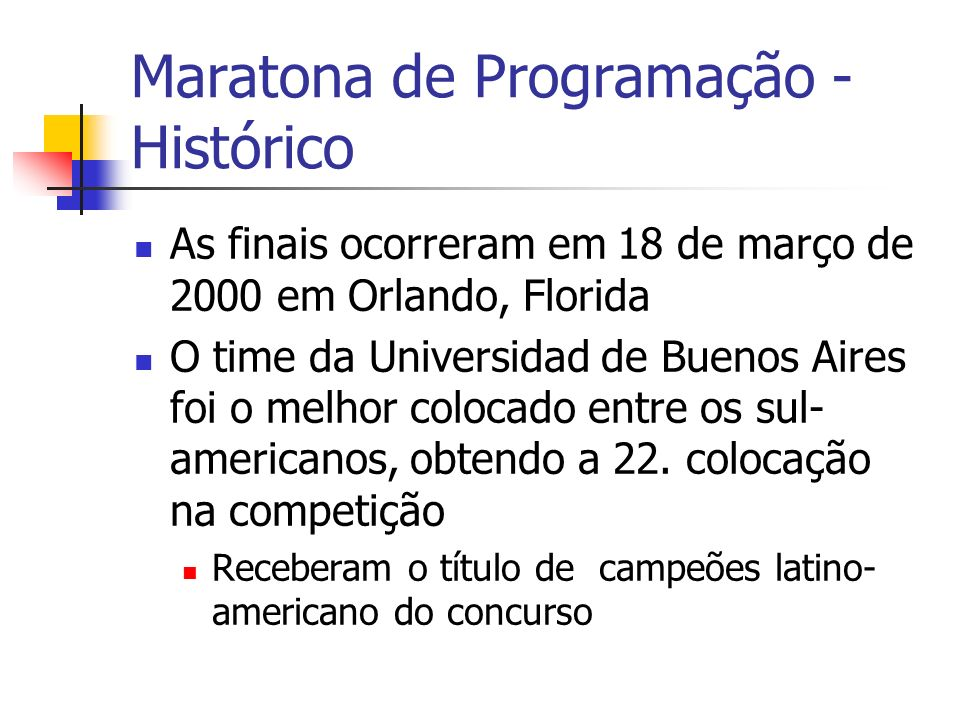 Maratona de Programação - Histórico