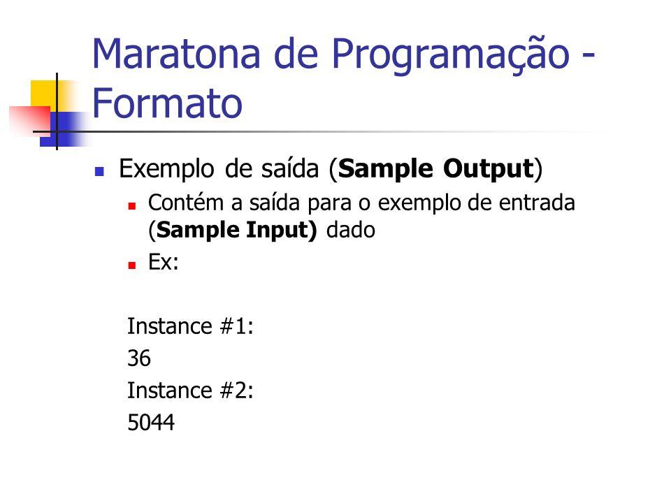 Maratona de Programação - Formato