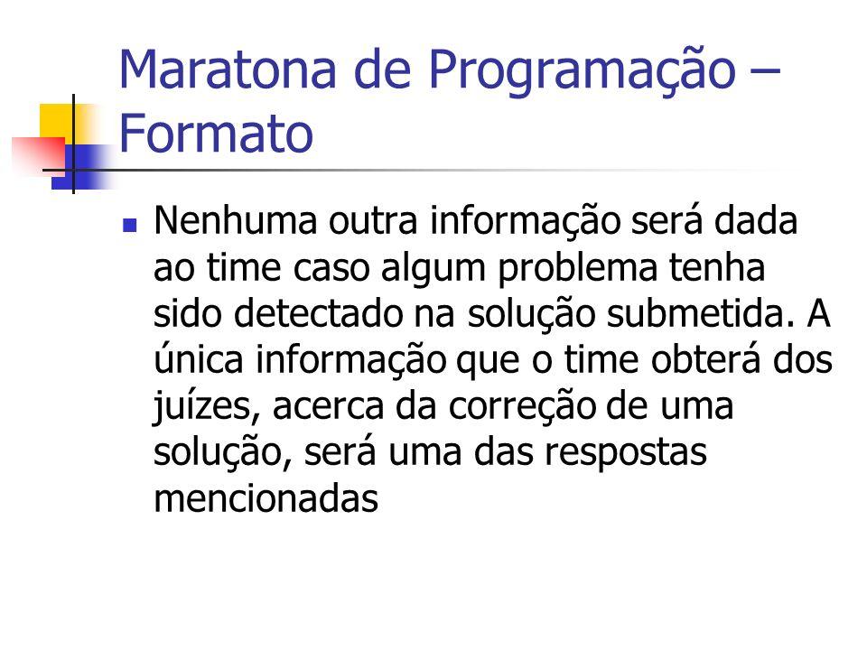 Maratona de Programação – Formato