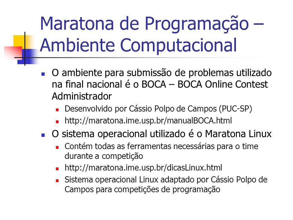 Maratona de Programação – Ambiente Computacional