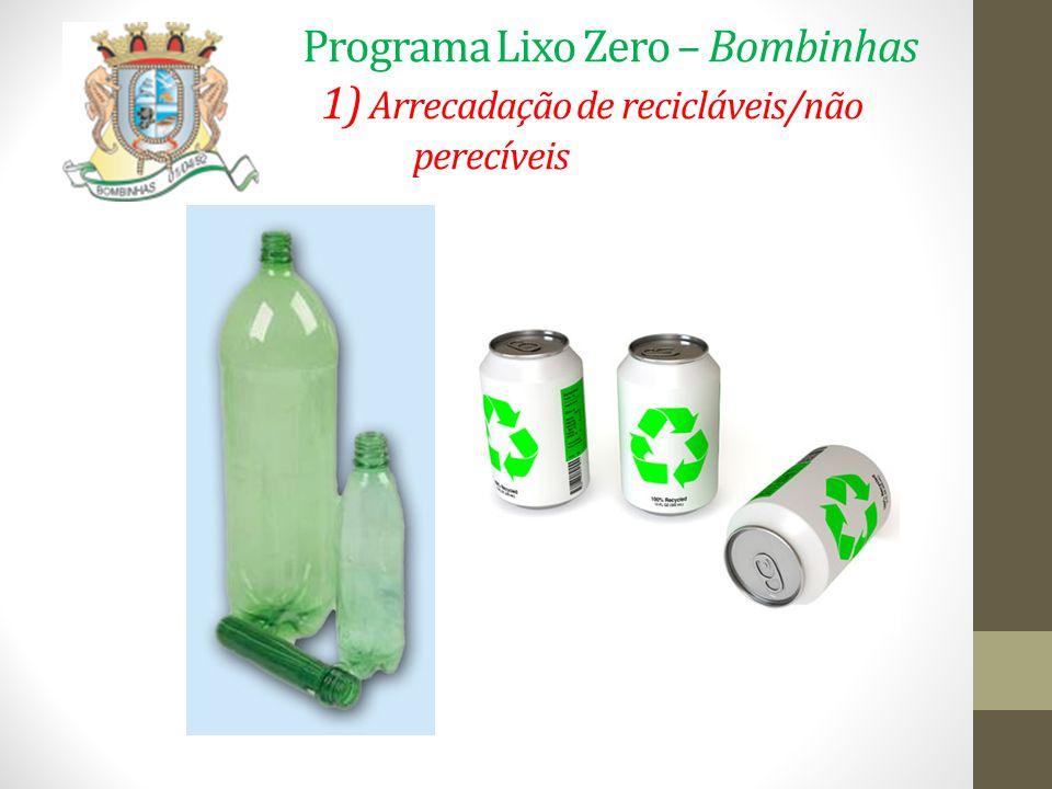 Programa Lixo Zero – Bombinhas 1) Arrecadação de recicláveis/não perecíveis