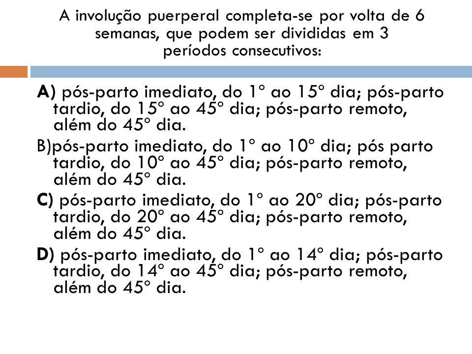 A involução puerperal completa-se por volta de 6 semanas, que podem ser divididas em 3 períodos consecutivos: