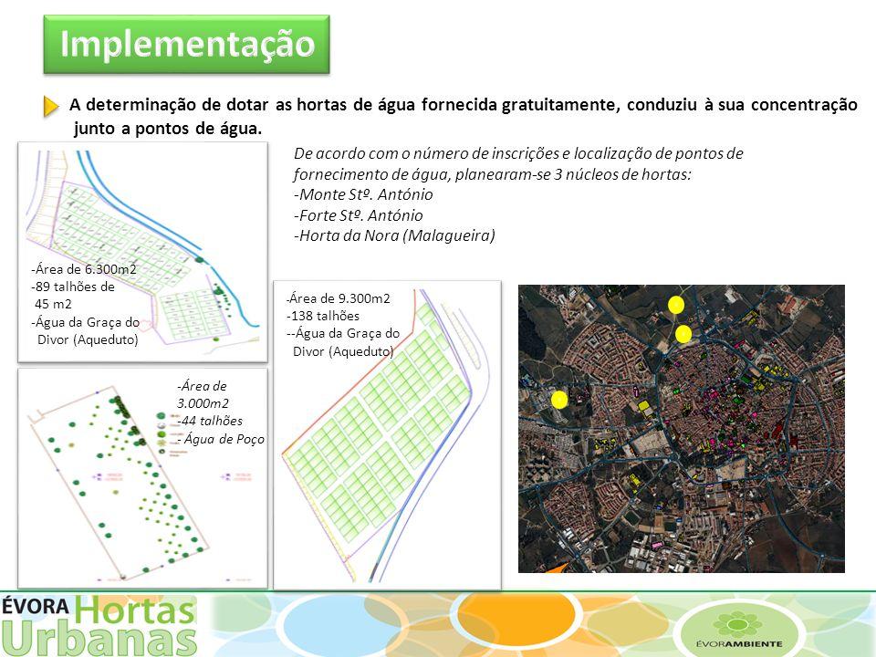 Implementação A determinação de dotar as hortas de água fornecida gratuitamente, conduziu à sua concentração.