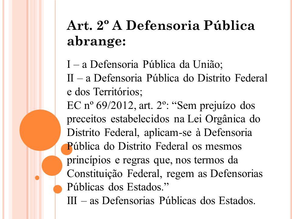 Art. 2º A Defensoria Pública abrange: