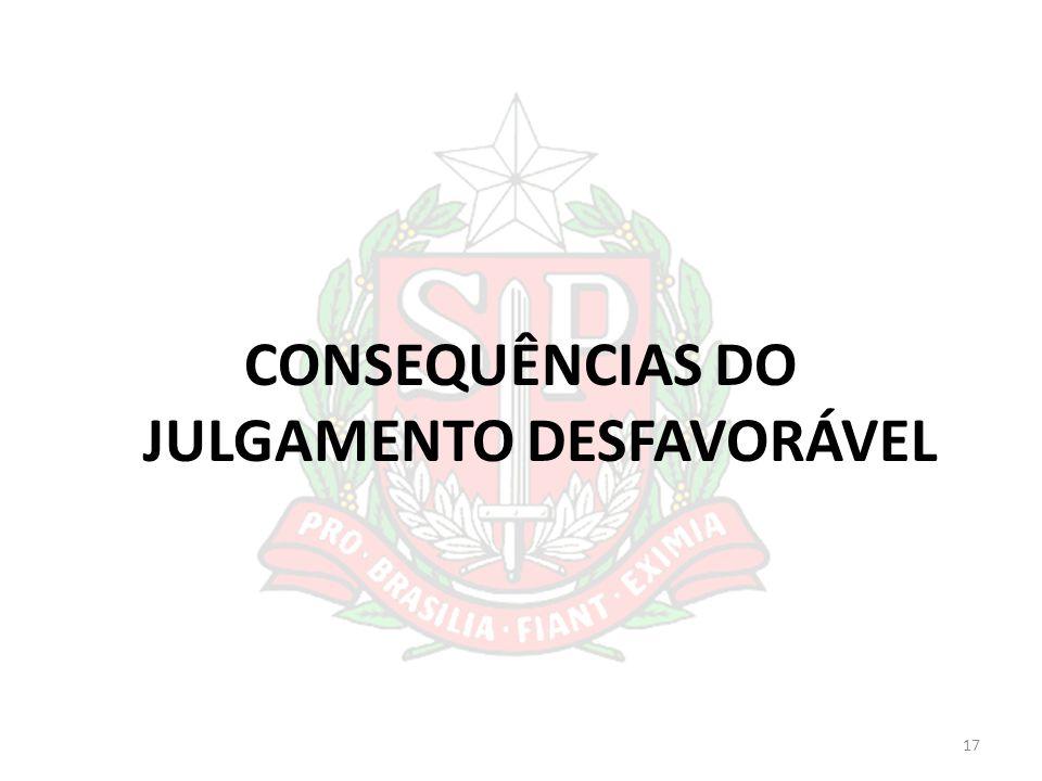 CONSEQUÊNCIAS DO JULGAMENTO DESFAVORÁVEL