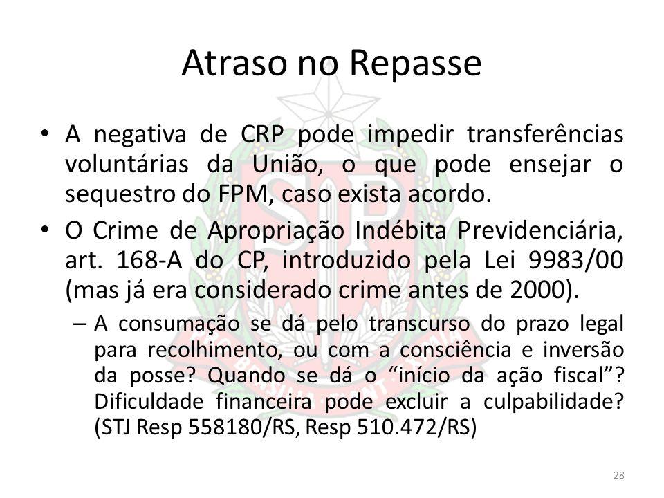 Atraso no Repasse A negativa de CRP pode impedir transferências voluntárias da União, o que pode ensejar o sequestro do FPM, caso exista acordo.