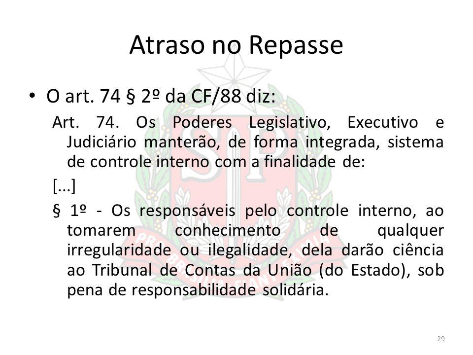 Atraso no Repasse O art. 74 § 2º da CF/88 diz: