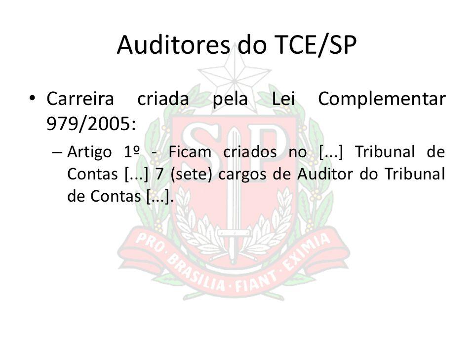 Auditores do TCE/SP Carreira criada pela Lei Complementar 979/2005: